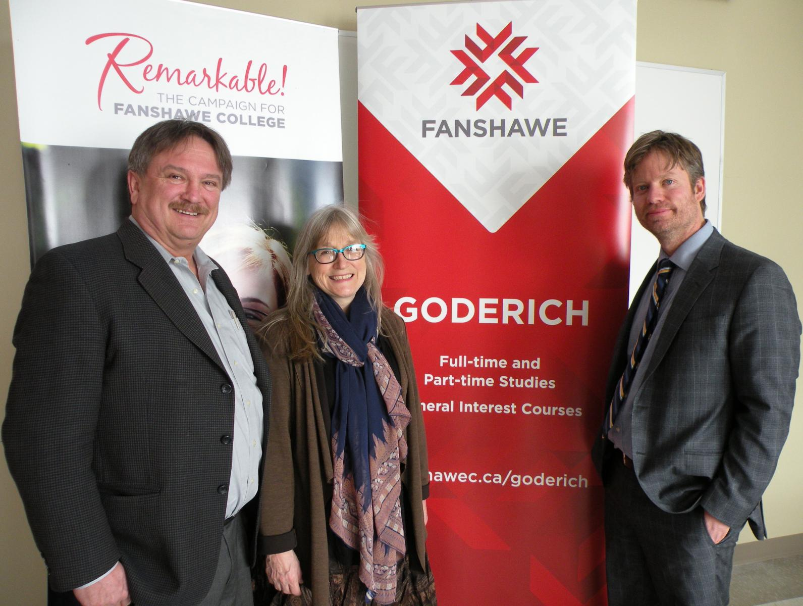 John Grace and Wendy Dell-Grace with Andrew Gunn, Fanshawe College