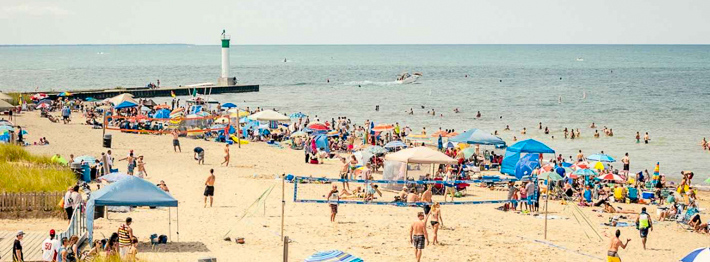 A busy beach in Grand Bend