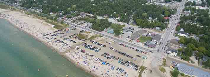 aerial view of Sauble Beach, Ontario