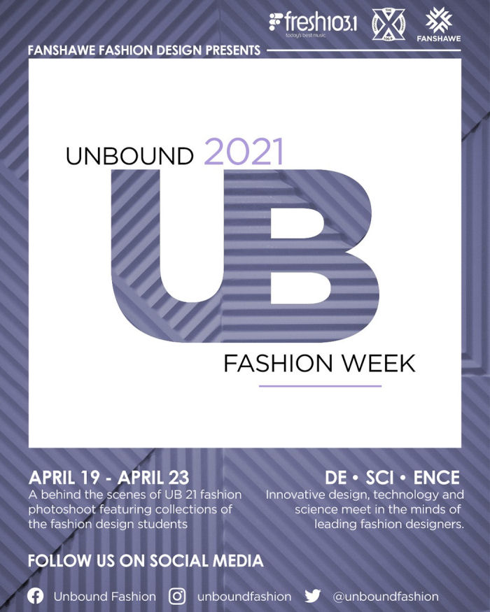 Fanshawe Fashion Design presents Unbound 2021 Fashion Week, April 19 to 23, A behind-the-scenes of UB 21 fashion photoshoot featuring collections of the Fashion Design students.