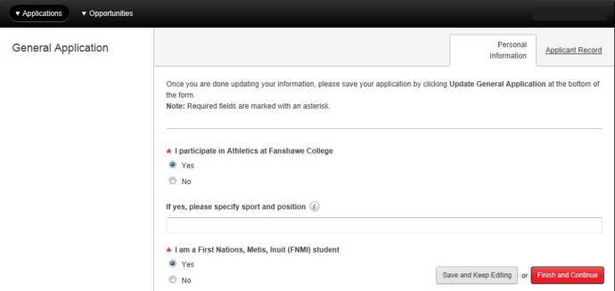 Screen capture of General Application screen showing required questions marked with red asterisk.