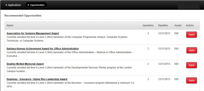 Screen capture: Recommended Opportunities page with list of scholarships.