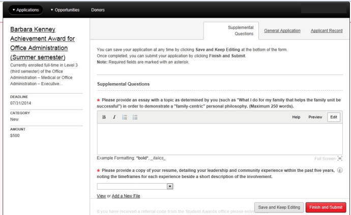 Screen capture: Supplemental Questions page for a specific opportunity.