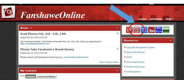 Screen capture of FanshaweOnline screen with Career/Co-op/CCR button highlighted