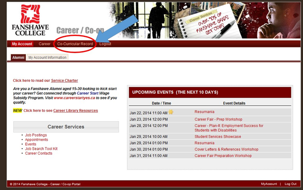 Screen capture of the Career/Co-op/CCR screen with the Co-Curricular Record link highlighted