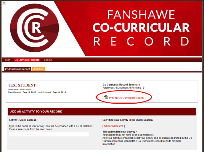 Screen capture: Print My Co-Curricular Record