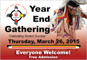 Year-End Gathering, Celebrating Student Success, Thursday, March 25, 2016. Everyone welcome! Free admission.
