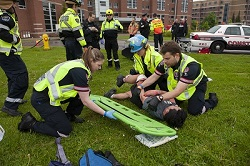 Fanshawe students participate in a mock emergency event