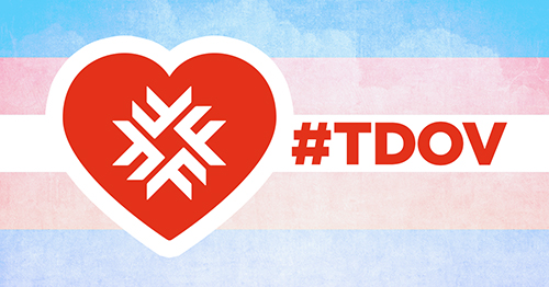 Transgender flag of pink and blue with heart silhouette and Fanshawe logo