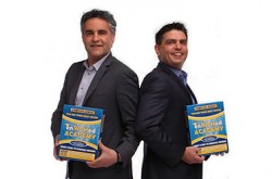 Bruce Croxon and Kevin Cochran display packaging for enRICHed Academy software