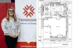 Student Rachel Radauskas in front of Fanshawe Design banner
