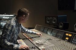 Dan Brodbeck at sound mixing board