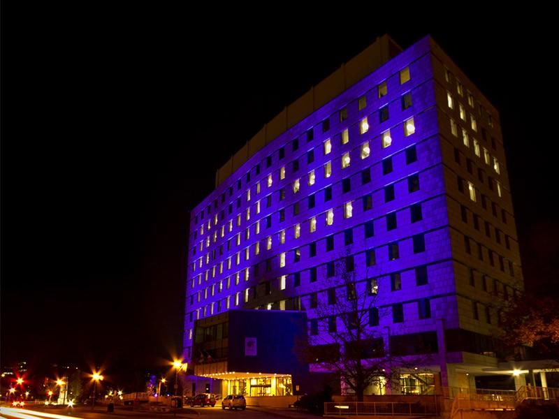 London's city hall turns purple for Shine the Light