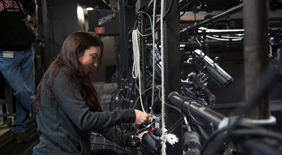 Fanshawe technician working backstage