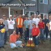 Students volunteering landscape construction services for Habitat for Humanity London.