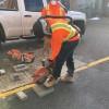 Construction class – cutting paving.