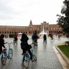 Students periodically explore cities on bicycle.  This tour of the Expo 1929 site in the Parque de Maria Louisa in Seville, Spain.