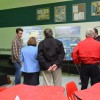 Students speak with members of the public about their proposed development site