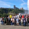 Students gather in front of large fountain as they tour the city of Pittsburgh, PA.
