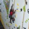 Photo of student using the 26-foot climbing wall in the Student Wellness Centre