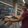 Student uses treadmill in Student Wellness Centre