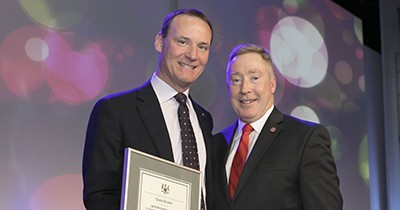 Photo of Chris Gower and Presiden Peter Devlin