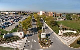 Aerial photo of Fanshawe College gates