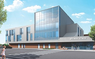 Architect's rendering of the Wellness Fitness building