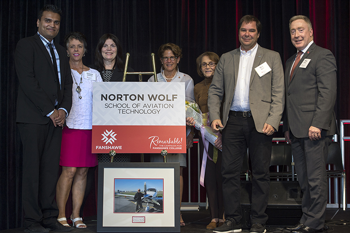 Photo of naming ceremony for the Norton Wolf School of Aviation Technology