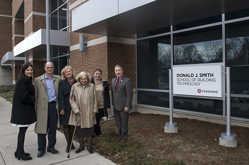 Celebrating the signage unveiling of the Donald J. Smith School of Building Technology
