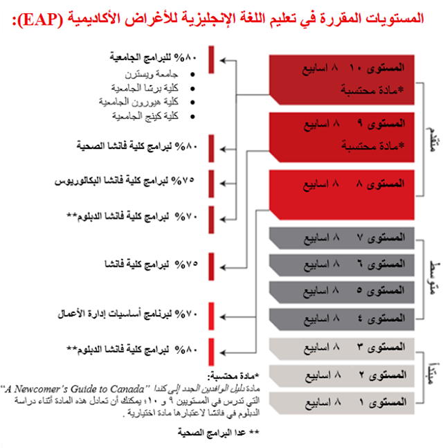 Arabic version of chart: English for Academic Purposes (EAP) levels