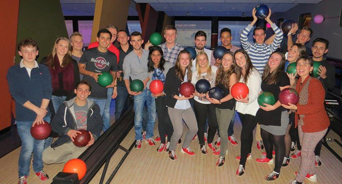 Photo of exchange students and staff bowling