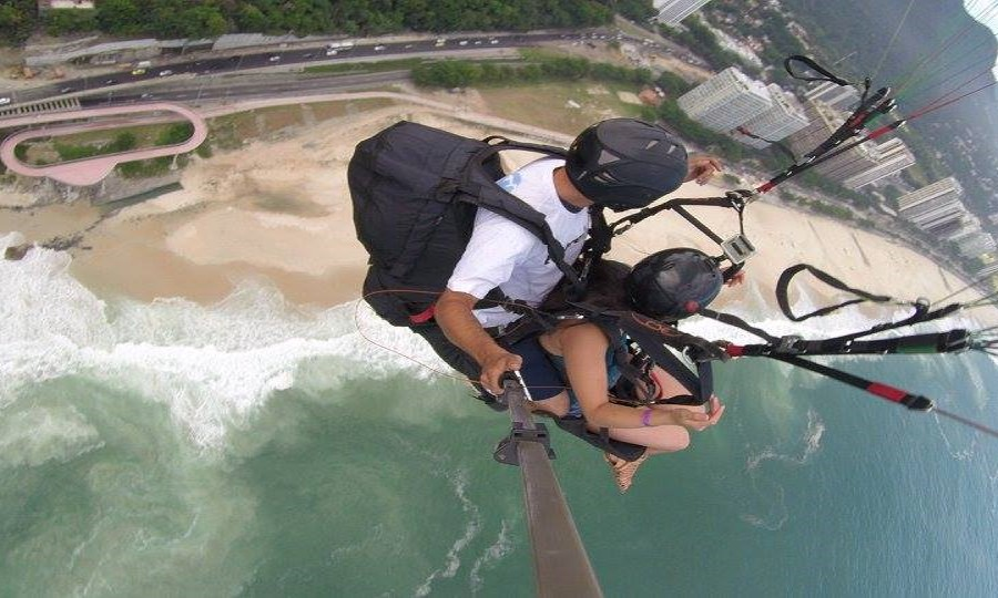 Exchange student paragliding in Brazil