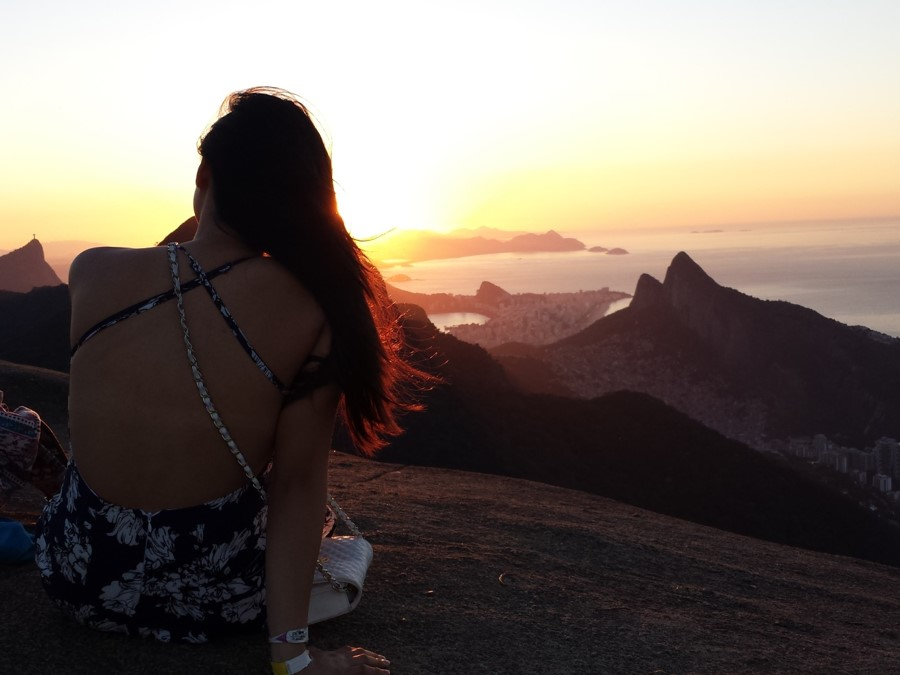 Exchange student in Brazil overlooking the sun set over Rio de Janeiro