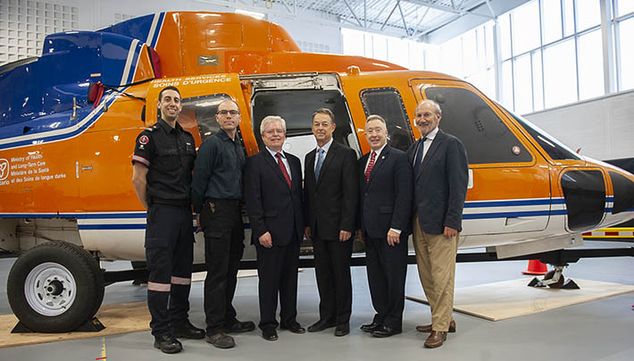 Photo of people in front of Ornge helicopter