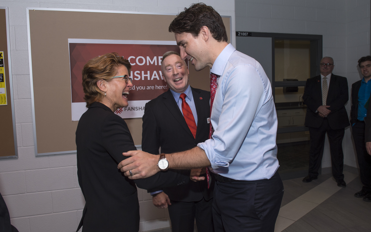 Prime Minister Justin Trudeau with Susan Rabkin and Peter Devlin