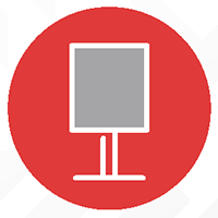Mobile kiosk icon in red circle