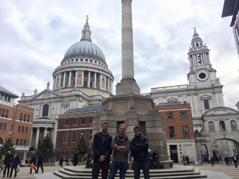 Students on exchange in front of Saint Paul's Cathedral, England