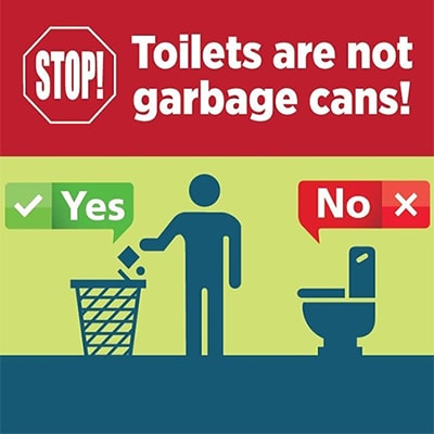 Toilets are not garbage cans image